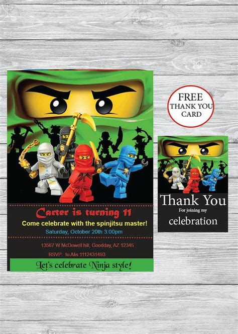 printable lego ninjago birthday invitations ninjago party birthday invitation free thank you card
