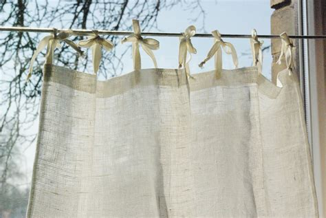rustic style curtains tie top curtain panel natural white rustic linen french style