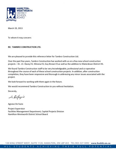 Letter Of Recommendation For by Reference Letters Tambro Construction
