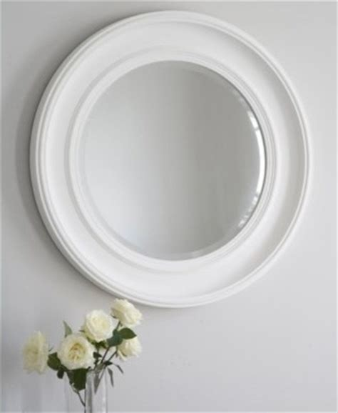 bevelled wall mirror in white new england round mirror