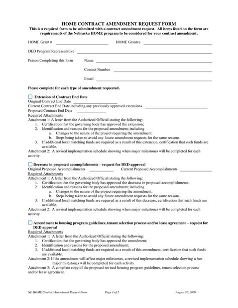 amendment agreement template home contract amendment request form in word and pdf formats