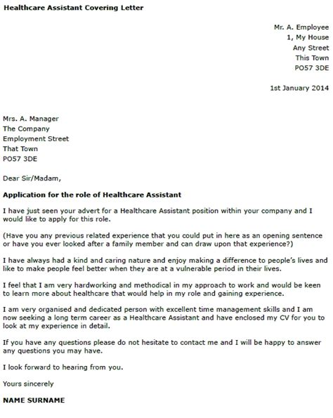 covering letter for health care assistant letter of