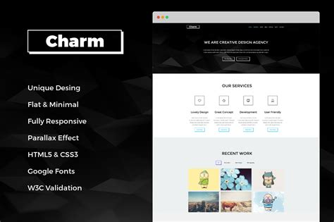 themes html css charm responsive one page template html css themes on
