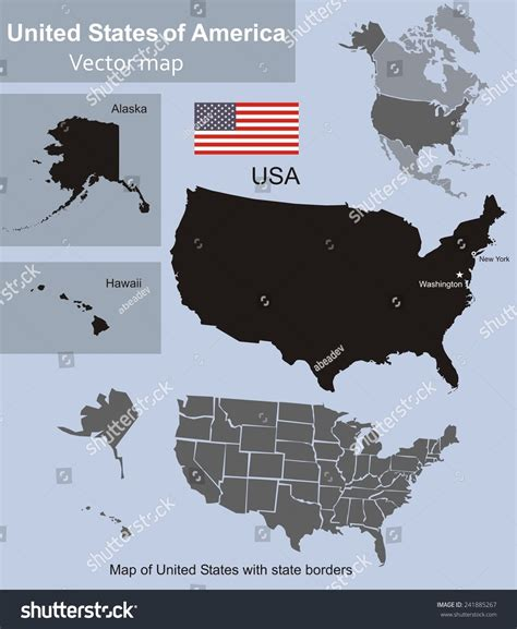 us map including alaska and hawaii map of united states with state borders including alaska