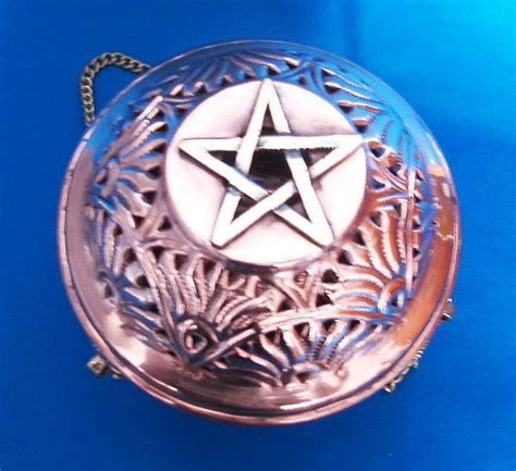swinging incense burner swinging censer from copper with pentagram 4135