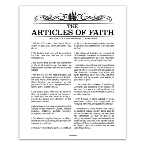 printable articles of faith the articles of faith poster black temple header style