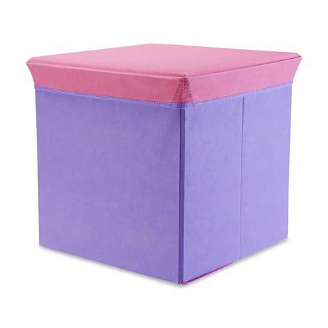 purple ottoman with storage bintopia folding storage ottoman purple w pink lid