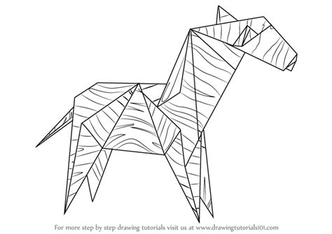 Origami Drawing - learn how to draw an origami zebra everyday objects step