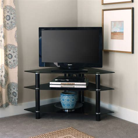 black corner tv stand walker edison bermuda black glass corner tv stand black