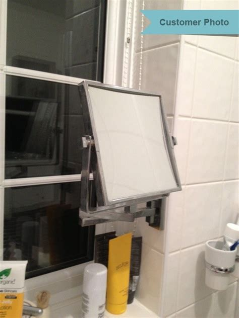 Extendable Square Wall Mounted Vanity Shaving Mirror Wall Mounted Extendable Mirror Bathroom