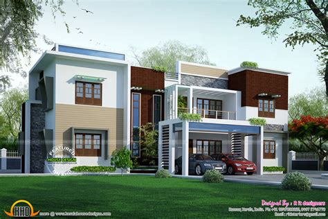 modern flat roof contemporary home kerala design floor