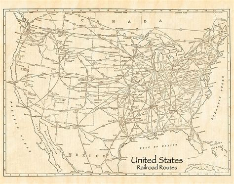 railroad map united states united states railroad routes antique vintage country map