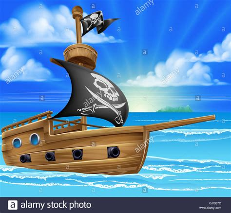 boat cartoon pirate a cartoon pirate ship boat sailing in the ocean with jolly