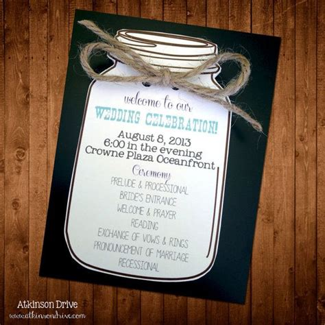 Custom Mason Jar Wedding Program Wedding Ideas Pinterest Mason Jar Weddings Wedding Jar Wedding Program Templates