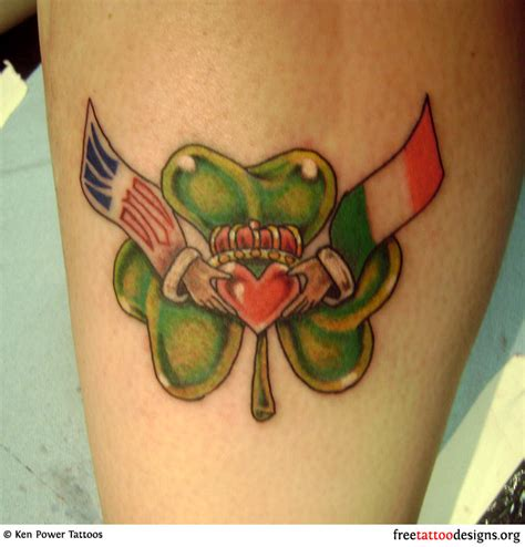 77 irish tattoos shamrock clover cross claddagh