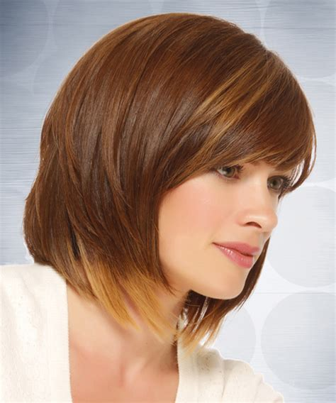 short straight casual hairstyle medium brunette caramel side medium straight casual bob hairstyle with side swept bangs