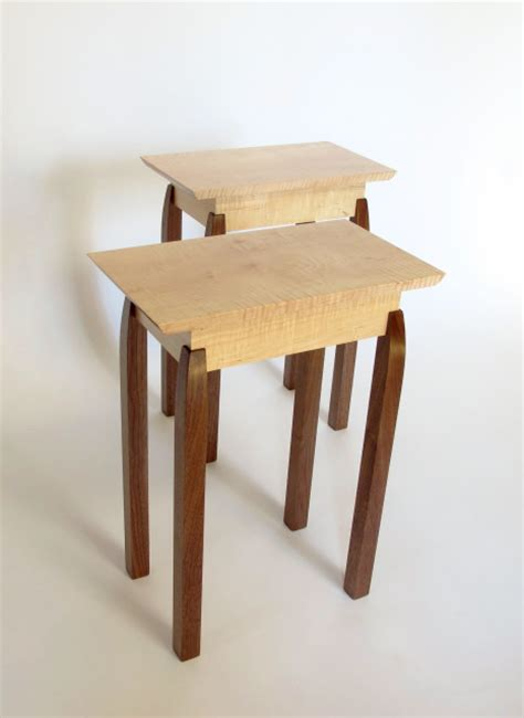 pair  small narrow  tables solid wood furniture