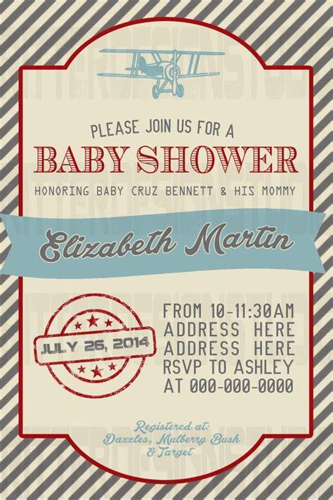 Old Vintage Airplane Baby Shower Invitation Printable Digital File Invitations Cards Airplane Baby Shower Invitation Templates