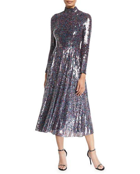 Mock Neck Sleeve Midi Dress escada sleeve mock neck sequined midi dress neiman