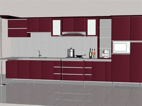 straight line kitchen designs dark red straight line kitchen design 3d model 3dsmax files free download modeling 16411 on cadnav