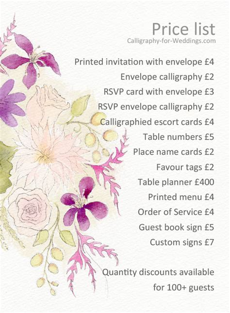 invitation design price list calligraphy for weddings more