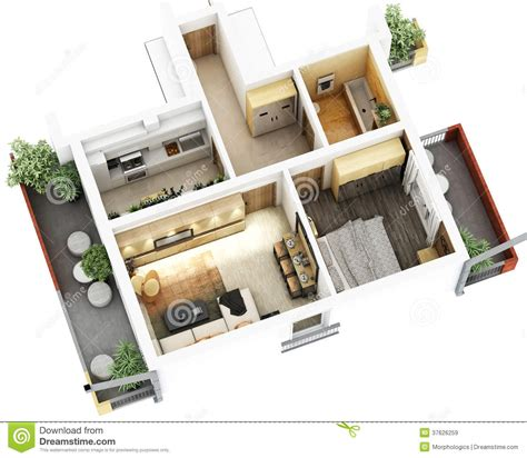 2 Bedroom 1 Bath Mobile Home Floor Plans by 3d Floor Plan Stock Illustration Illustration Of Design
