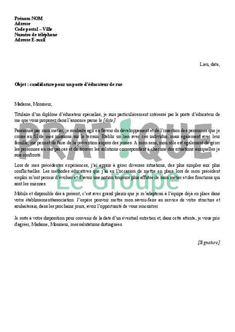 Exemple De Lettre De Motivation Moniteur Ducateur lettre de motivation educateur employment application
