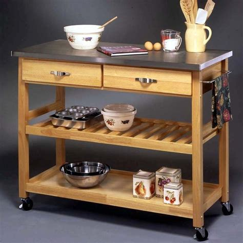 movable kitchen islands butcher block table movable stainless steel top kitchen cart storage island rolling
