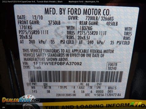 ford color code uh tuxedo black metallic dealerrevs