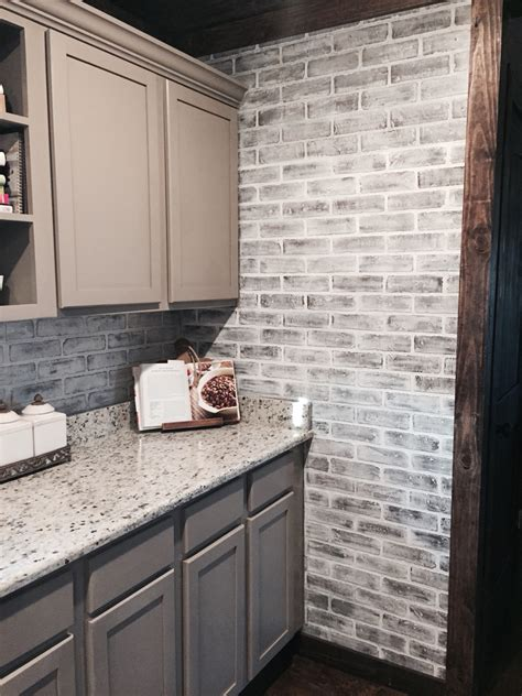 faux brick kitchen backsplash lowes brick panels painted white brick backsplash paint color studio taupe by behr faux brick