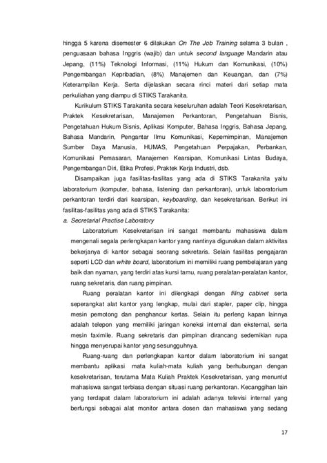 contoh laporan ojt laporan kunjungan industri d iii sekretari an rininda