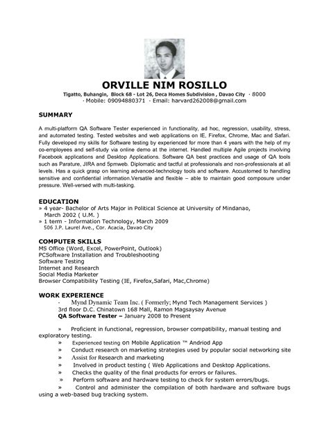 sle resume for software qa engineer software developer resume cover letter