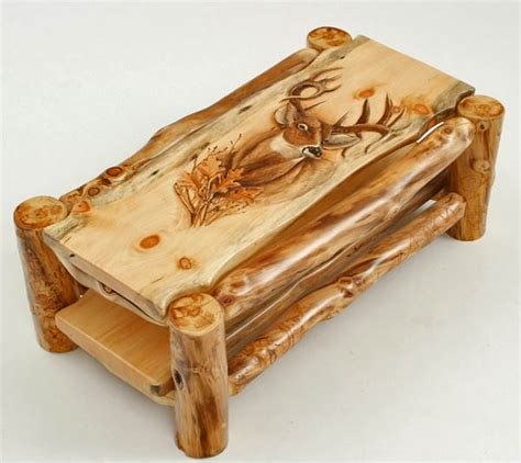 Unique Handmade Furniture - log coffee table cabin furniture carved custom