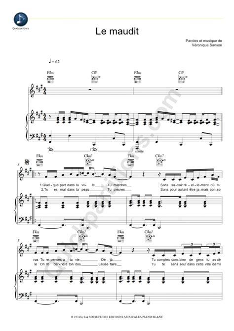 tutorial piano veronique sanson partition piano le maudit v 233 ronique sanson partition