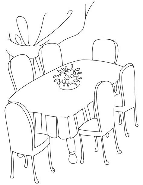 coloring page of a kitchen table dining room coloring pages download and print for free