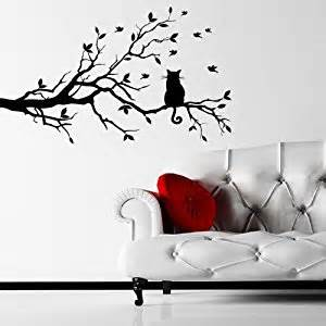 Amazon Wall Sticker Amazon Com Cat On A Branch Wall Sticker Decal Black