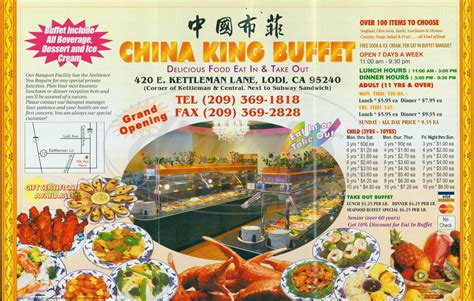 king buffet prices china king buffet menu lodi dineries