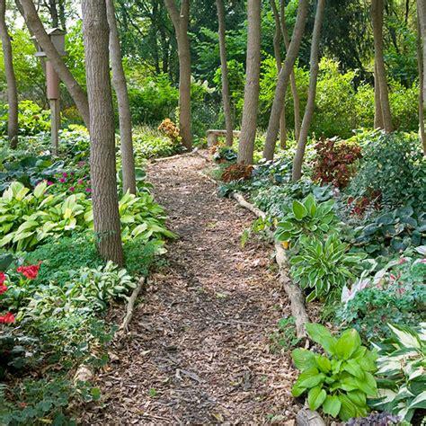 woodlands backyard shade garden ideas paths bleeding hearts and gardens