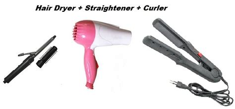 branded grooming trio hair dryer straightener curler