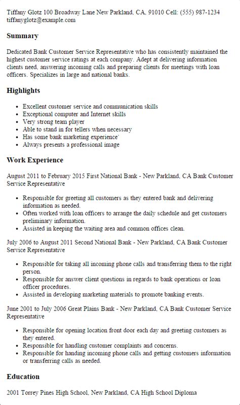 1 bank customer service representative resume templates