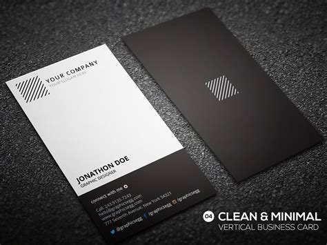 clean minimal vertical business card business card