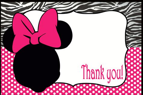 minnie mouse card templates minnie mouse thank you card on handmade artists shop