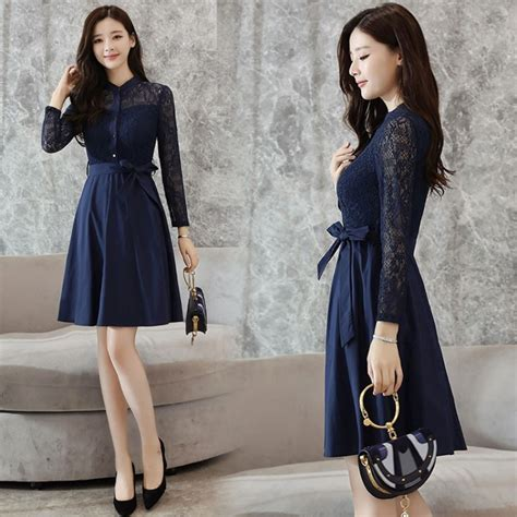 Korean Style korean style autumn new style slim fit collar dress