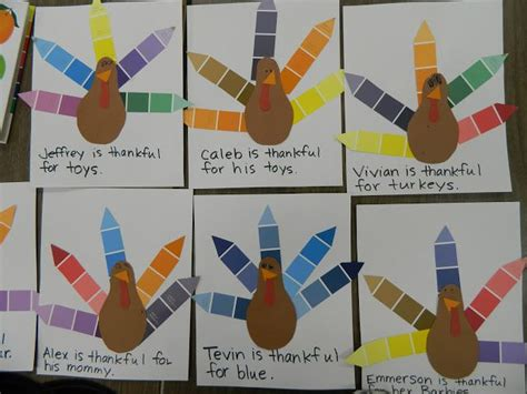 paint chipthanksgiving turkey craft crafts for crafts feathers and colors
