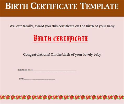 birth certificate template for word birth certificate template 31 free word pdf psd