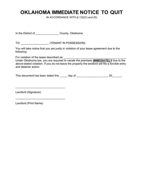 free notice to quit template free oklahoma immediate notice to quit form pdf word