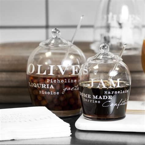 glass with olive glass olive jar with spoon tutti decor ltd