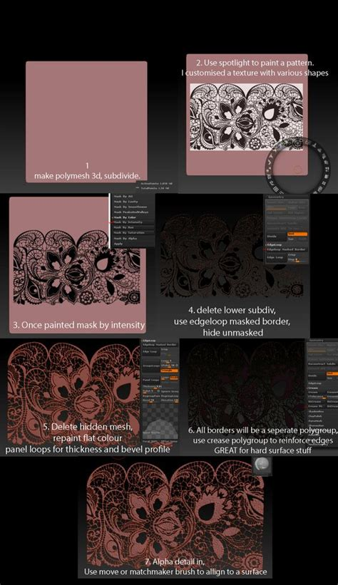 zbrush lace tutorial zbrush tutorials and sculpting on pinterest