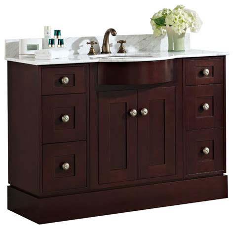 cherry wood veneer vanity set in coffee 48 quot x22