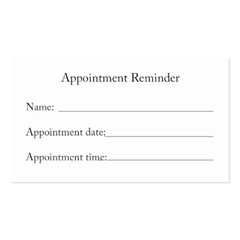 appointment reminder business card template appointment reminder card business card template
